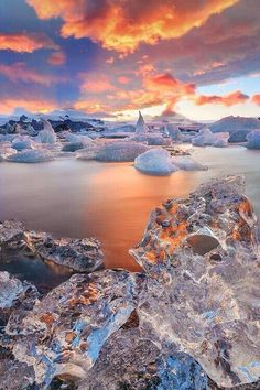 The gorgeous Jökulsárlón in Iceland, again. A large glacial lake in southeast Iceland, it's is considered as one of the natural wonders of Iceland. In 1991 Iceland issued a postage stamp, with a face value of 26 kronur, depicting Jökulsárlón. Beautiful World, Beautiful Places, Beautiful Pictures, Beautiful Beautiful, Amazing Photos, Beautiful Sunset, Landscape Photography, Nature Photography, Photography Backdrops