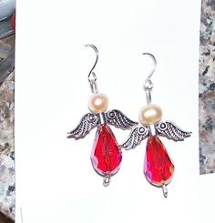 Red crystal and pearl angel earrings | MarquisCreations - Jewelry on ArtFire