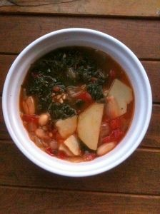 Spicy and Hearty Potato, White Bean and KaleSoup