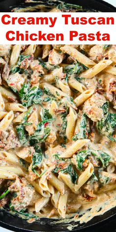 This Creamy Tuscan Chicken Pasta is garlicky cheesy and delicious. And the best part is that it only takes 30 minutes to make! This Creamy Tuscan Chicken Pasta is garlicky cheesy and delicious. And the best part is that it only takes 30 minutes to make! Chicken Pasta Crockpot, Chicken Sausage Recipes, Italian Chicken Pasta, Italian Chicken Recipes, Pasta Recipes With Chicken, Creamy Chicken Pasta Bake, Cheesy Chicken Pasta, Chicken Pasta Dishes, Chicken Spinach Pasta