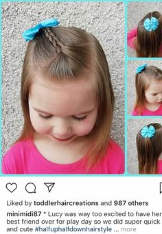 Toddler Hair Dos, Easy Toddler Hairstyles, Easy Little Girl Hairstyles, Girls Hairdos, Cute Hairstyles For Kids, Baby Girl Hairstyles, Easy Hairstyles, Toddler Girls, Long Hair Styles
