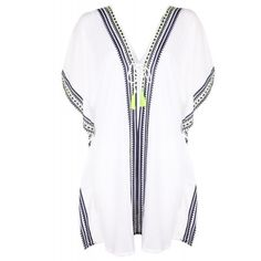 Cool Change Ladies' Positano Nalu Border Kaftan White Navy Lime Cool... (€125) ❤ liked on Polyvore featuring swimwear, cover-ups, dresses, beach wear, beach kaftan, kaftan cover up, white kaftan and white cover up