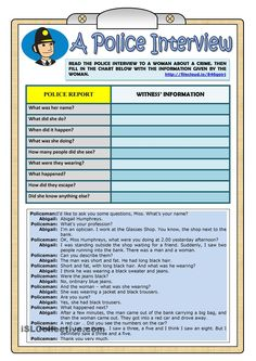 A Police Interview - PAST CONTINUOUS - Worksheet