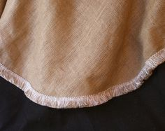 24 inch Burlap Tree Skirt-Taupe and White Fringe Christmas Tree Skirt -Lined