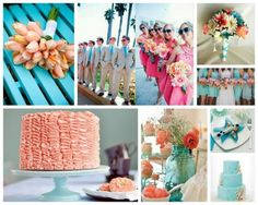 summer wedding theme - teal and coral color scheme