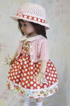 """""""In the Garden""""  a """"One-of-a-Kind"""" 7-pce. ensemble for Dianna Effner's 13"""" Little Darlings.  Includes a delicate hand knit lace cardigan."""
