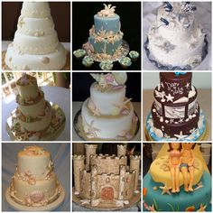 Nautical seashell wedding cake choices.
