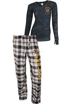 College Concepts Boston Bruins Women's Crossroad Burnout Long Sleeve and Pant Set - Shop.NHL.com size med:$49.99