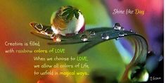 #Creation is filled, with rainbow #colors of LOVE When we #choose to #LOVE  we allow all colors of #Life, to unfold in #magical #ways...  We remember what we should forget And forget what we should remember The past doesn't have power over the Present...   Open Up to a New beginning. Let the gentle strength of #LOVE be in YOᘮર #journey! #Joy #Happiness #Behappy #VesnaA