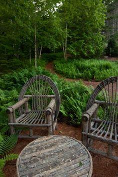 Furniture from cut trees... The rustic furniture... ferns and furniture...