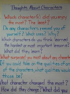 Response questions for a study on character