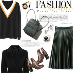 How To Wear A V-Neck Jumper With A Pleated Skirt