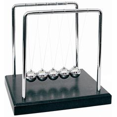 Newton's Cradle - $21.95 - This is THE classic desk toy! Large enough to impress people a fair distance away, 7 x 7 x 6 inches, this Newton's Cradle is a fine looking piece of art. With one inch diameter metal spheres that pleasantly click-click-click-click... audibly and rhythmically as they should - people will come from all directions to play with your new desk toy.