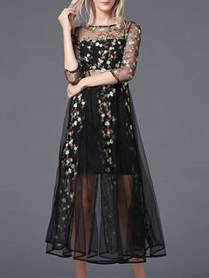 Black Sheer Gauze Embroidered Midi Dress