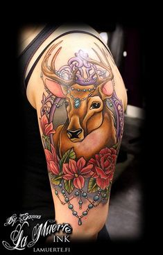 Neo traditional deer tattoo