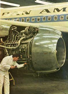 Serving a Jet Engine of Pan AM Airline. Aviation Mechanic, Civil Aviation, Airplane Mechanic, Commercial Plane, Commercial Aircraft, Boeing 707, Aircraft Maintenance, Pan Am, Aircraft Engine