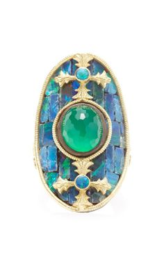 Elongated Oval Ring With Boulder Opal Mosaic by Armenta for Preorder on Moda Operandi