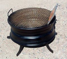 DIY Steel Car Rim Barbecue Grill by Bevin Chu October 2012 Taipei, China Back in the late I had the idea of turning an ordinary . Mini Barbecue, Barbecue Grill, Grilling, Rim Fire Pit, Fire Pit Grill, Fire Pits, Orta Vertical, Grill Diy, Homemade Grill