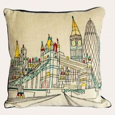 A neutral cotton-linen mix cushion with a colourful embroidered scene of London landmarks, including the iconic Tower Bridge, makes a unique style statement and is a must-have for design-minded travel lovers. London Wonders, London Landmarks, Tower Bridge, Cotton Linen, Neutral, Cushions, Scene, Lovers, Textiles