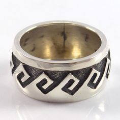 """Sterling Silver Ring with a Hopi Overlay Wind Design. Ring Size: 7.5 .375"""" Band Width"""