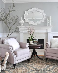 PAINT: Valspar called Seafoam Storm which is a really gorgeous medium gray blue