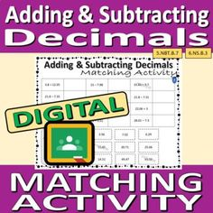 Drag and Drop Matching Activity - Adding and Subtracting Decimals