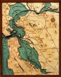 SF Bay wooden 3d topo map