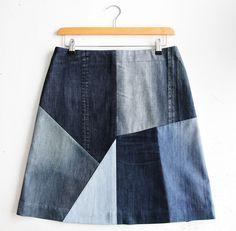 ...reused denim skirt made of different shades of blue combination of old denims.... #reuseddenim #quilt #skirt #patchwork #denim #upcycle #cuttingwaste #jeans