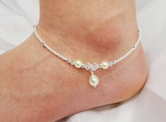 Anklet, Crystal Pearl Dangle, Clear AB Swarovski Crystal, Ivory Glass Pearl, Ankle Bracelet, Beaded, Customizable, Wedding, Beach, Vacation