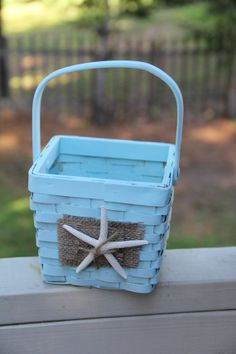 Starfish Flower Girl Basket on SALE by Rusticblend on Etsy, $12.00