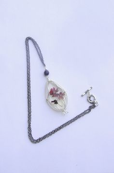 Necklace with natural flowers Verbena flower Red by BBBsDesigns, $18.00