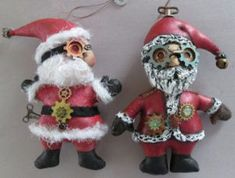 """Santa Ornaments  There's nothing like some 7"""" steampunk Santa ornaments to spice up a tree!"""