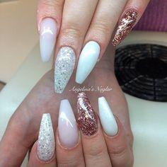 Frosted pink, vitt glitter, gammelrosa glitter, Snow White med diamond