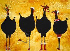 Hubbs Folk Art Prints Country Farm Fowls engraçados Preto Galinhas Frango Moda…