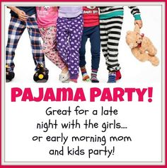It's a Thirty-One PAJAMA PARTY! Everyone loves to be casual! Great for a girls night or an early morning mom and kids party. Everyone brings food and gets tickets for each snack they bring. takes the pressure off of you, and makes it fun for everyone! 31 bag, 31 bags, direct sales party themes www.mythirtyone.com/lakey  #thirtyone#pajamaparty