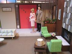 scale mid century modern diorama from Miniatures from Avalon Barbie Room, Barbie Doll House, Barbie Life, Barbie Dolls, Victorian Dollhouse, Modern Dollhouse, Dollhouse Dolls, Miniature Crafts, Miniature Dolls