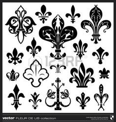 Lily flower vector. Fleur de lis vector collection. Vintage lily flower emblems. photo
