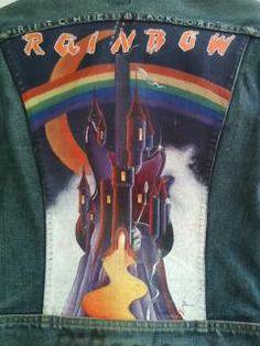 """Rainbow"" Acrylic on denim (High School business days...)"