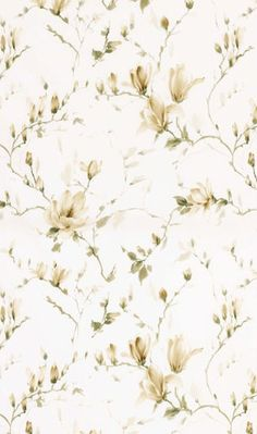 Magnolia Garden Fabric A pure cotton curtain fabric with a striking large design watercolour style print of flowering magnolia branches in sage and ivory on a white ground.