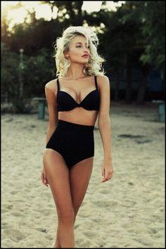 Classic black bikini vintage style
