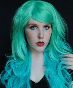 22% OFF - TEAL FANTASY wig // Green Teal Reverse Ombre Blend Hair // Curly Long Halloween. $86.00, via Etsy.