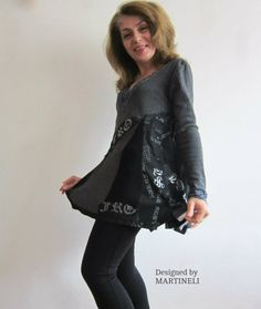 Gray Boho Chic Top Recycled Shirt Embroidered Top by MARTINELI