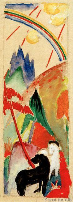 Franz Marc - Schwarzes und weißes Pferd in Gebirgslandschaft mit Regenbogen
