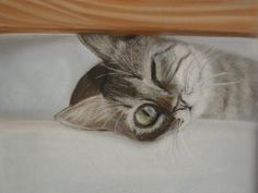 MADE TO ORDER Original Painting From The Artist Cute Cat Curiosity Little With Pastels Gift Interior Design
