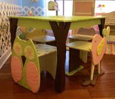 Childrens Table and  4 Chair SET Bird Owl Themed by spoiltrottn, $550.00