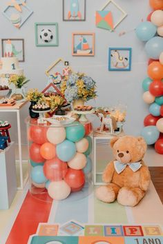 1 Year Old Birthday Party, Circus Birthday, Birthday Bash, Teddy Bear Baby Shower, Baby Shower Niño, Las Vegas Party, Party Decoration, Woodland Party, 1st Birthdays