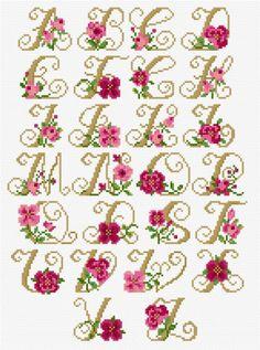 <b>Alphabet - Roses</b><br>cross stitch pattern<br>by <b>Lesley Teare Designs</b> Cross Stitch Alphabet Patterns, Wedding Cross Stitch Patterns, Disney Cross Stitch Patterns, Cross Stitch Letters, Free Cross Stitch Charts, Cross Stitch Borders, Cross Stitch Designs, Cross Stitching, Cross Stitch Embroidery