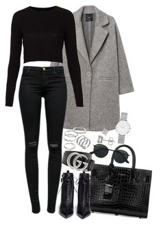 """Sem título #1435"" by manoella-f on Polyvore featuring moda, MANGO, J Brand, Topshop, Yves Saint Laurent, Sergio Rossi, Gucci, Ray-Ban, Apt. 9 e Daniel Wellington"