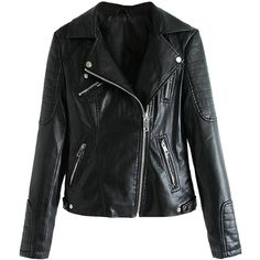 Choies Black Lapel Leather Biker Jacket (15.635 HUF) ❤ liked on Polyvore featuring outerwear, jackets, leather jacket, choies, coats, black, 100 leather jacket, genuine leather jacket, leather moto jacket and black jacket