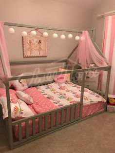 Grey pink and white girls room interior ideas little princess room bed with canopy children bed toddler bed baby toy room house frame bed baby bed Montessori play tent home bed nursery crib ChildrensBeds #